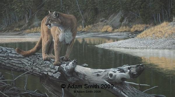 """Riverside Pursuit"" - Acrylic - 18"" x 32"" - Sold Riverside Pursuit African artist Adam Smith Adam Smith Artist"