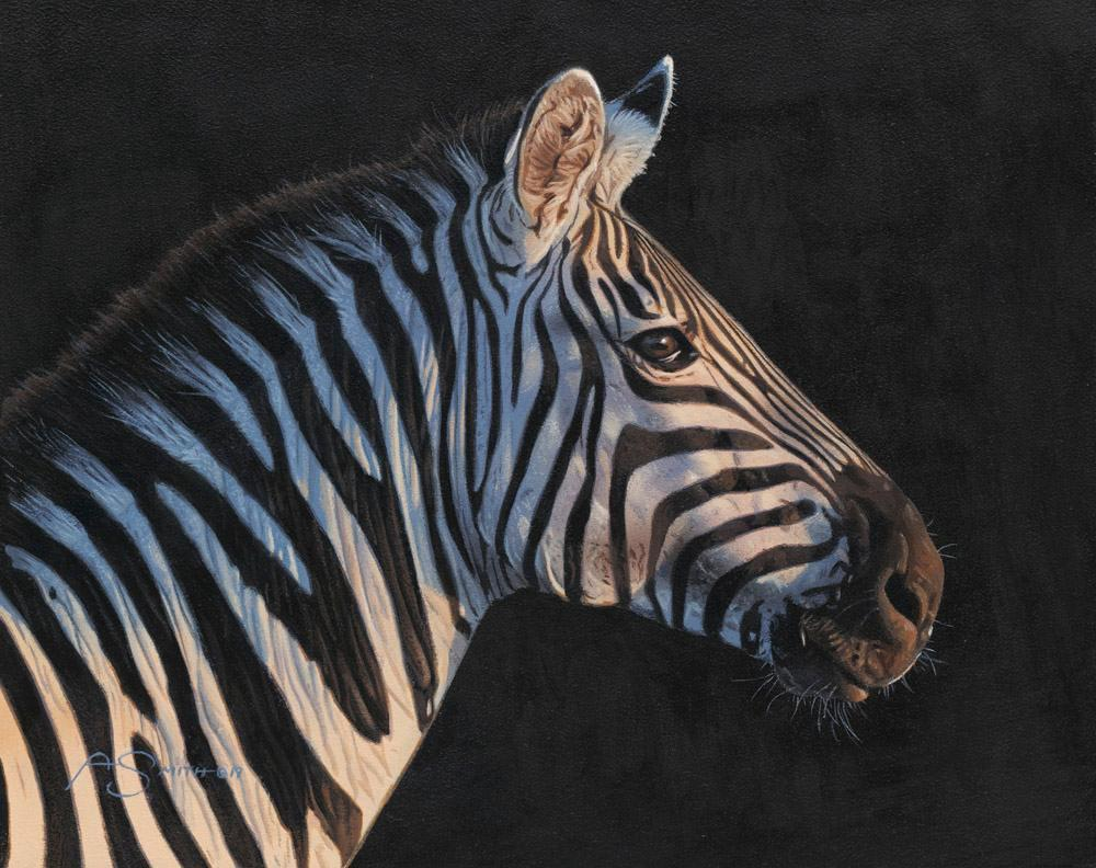 """Breaking Dawn"" - Zebra Acrylic Painting - 8""x10"" - Adam Smith"