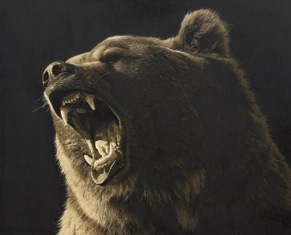 """""""Grizzly"""" - Grizzly Bear by Adam Smith 30"""" x 37"""" Original Acrylic."""
